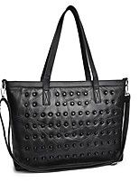 Women Bags PU Tote Zipper for Shopping Casual All Season Black