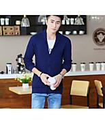 cheap -Men's Daily Wear Short Cardigan,Solid V Neck Long Sleeves Cotton Winter Fall Medium Micro-elastic