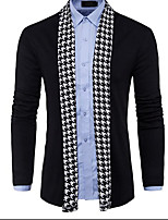 cheap -Men's Daily Going out Regular Cardigan,Solid V Neck Long Sleeves Cotton Thin Micro-elastic