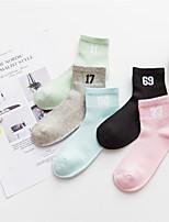 economico -Calzini Per donna Cotone Nylon Lettere & Numeri Medio spessore,5 Arcobaleno
