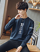 cheap -Men's Daily Going out Sweatshirt Solid Round Neck Inelastic Polyester Long Sleeves Winter Fall