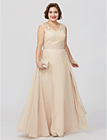 A-Line Princess V-neck Floor Length Chiffon Lace Mother of the Bride Dress with Appliques Sash / Ribbon by LAN TING BRIDE®