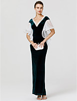 Sheath / Column V-neck Floor Length Velvet Formal Evening Dress with Lace Ruffles by TS Couture®
