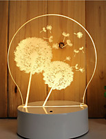 1 Set Of Decorative Acrylic 3d Night Light LED Bedroom Lamp Mood Lamp, Hand Scanning, Dimming, Color Change, 3W, Dandelion