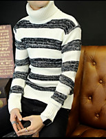 Men's Casual/Daily Short Pullover,Solid Striped Turtlenecks Long Sleeves Others Autumn Medium strenchy