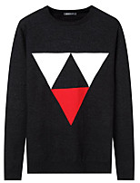 Men's Daily Casual Regular Pullover,Solid Geometric Round Neck Long Sleeves Polyester Winter Fall Thick Micro-elastic
