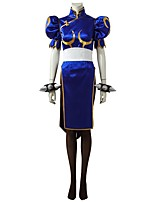 Inspired by Street Fighter Chun-Li Video Game Cosplay Costumes Cosplay Suits Dresses Solid Half-Sleeve Dress Belt Socks