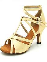 Women's Latin Silk Sandal Heel Performance Flared Heel Dark Red Blue Brown Black Gold