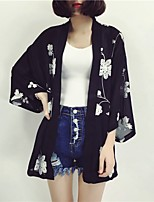 cheap -Women's Daily Going out Boho Spring Summer Blouse,Floral U Neck ¾ Sleeve Acrylic Semi-opaque