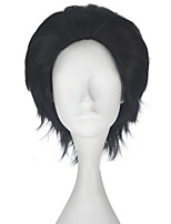 cheap -Men Unisex 33cm Short Straight Hair Synthetic Dark Black Color Wig Halloween Cosplay Costume Role Play Wigs