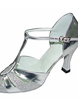 Women's Latin Sparkling Glitter Leatherette Sandal Heel Professional Splicing Customized Heel Silver Customizable
