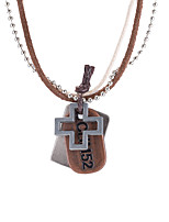 Men's Women's Vintage Necklaces Oval Cross Leather Alloy Vintage Casual Jewelry For Daily Casual