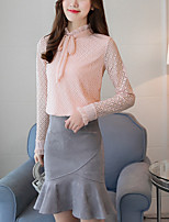 Women's Daily Going out Sexy Boho Blouse,Solid Round Neck Long Sleeves Cotton