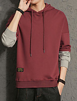 cheap -Men's Daily Going out Hoodie Solid Color Block Hooded Micro-elastic Polyester Long Sleeves Winter Fall