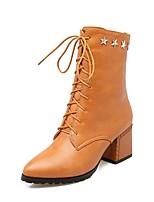 abordables -Mujer Zapatos Semicuero Primavera Otoño Confort Botas de Moda Botas Dedo Puntiagudo Mitad de Gemelo Remache Para Casual Vestido Negro