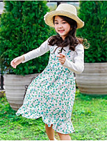 Girl's Birthday Daily Floral Scenery Dress,Cotton Spring Fall Long Sleeves Cute Active White