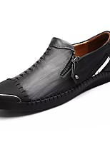 Men's Shoes Cowhide Fall Winter Comfort Loafers & Slip-Ons For Casual Brown Black