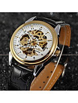 WINNER Men's Dress Watch Wrist watch Mechanical Watch Automatic self-winding Hollow Engraving Leather Band Luxury Casual Black