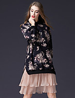 Women's Daily Work Cute Sheath Dress,Floral Round Neck Knee-length Long Sleeve Polyester Elastane Winter Fall Mid Rise Micro-elastic