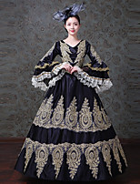 cheap -Vintage Rococo Victorian Costume Women's Adults' One Piece Dress Party Costume Masquerade Black Vintage Cosplay Satin/ Tulle Tulle Long