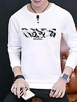 preiswerte -Herren Pullover Lässig/Alltäglich Solide camuflaje Rundhalsausschnitt Mikro-elastisch Baumwolle Langarm Herbst