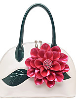 Women Bags Patent Leather Tote Flower(s) for Event/Party Casual All Season Blushing Pink Light Gold Dark Green Fuchsia Wine