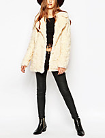 Women's Daily Work Simple Casual Winter Fall Fur Coat,Solid Shirt Collar Long Sleeves Long Rabbit Fur Raccoon Fur