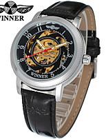 cheap -WINNER Men's Women's Dress Watch Wrist watch Mechanical Watch Automatic self-winding Hollow Engraving Leather Band Casual Elegant Black