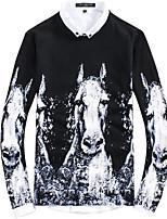 Для мужчин Прочее Простой Обычный Пуловер С принтом,Круглый вырез Длинный рукав Полиэстер Осень Средняя Слабоэластичная