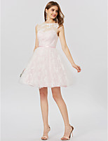 A-Line Princess Bateau Neck Short / Mini Lace Cocktail Party Dress with Sash / Ribbon Pleats by TS Couture®