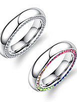 Women's Band Rings Rhinestone Adorable Elegant Rhinestone Titanium Steel Circle Jewelry For Wedding Party
