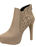 preiswerte -Damen Schuhe Kunstleder Frühling Herbst Komfort Stiefel Booties / Stiefeletten Für Normal Kleid Schwarz Khaki