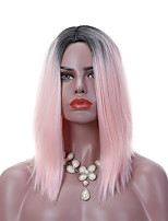 14 Inch Two Tones Short Ombre Pink Wigs Straight Bobo Style Celebrity Daily Cosplay Women's Synthetic Wig Soft Ash Pink Natural Hair Heat Resistant