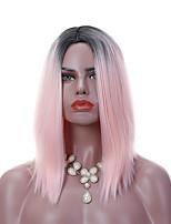 Mujer Pelucas sintéticas Medio Corte Recto Negro/Rosa Pelo Ombre Entradas Naturales Raya en medio Peluca afroamericana Corte Bob Peluca
