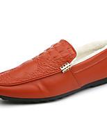 Hombre Zapatos PU Primavera Otoño Confort Zapatos de taco bajo y Slip-On Para Blanco Negro Naranja