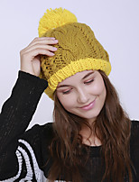 cheap -Women's Acrylic Roman Knit Floppy HatVintage Cute Casual Floral Winter Braided Yellow Beige Red Brown Blue