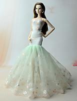 Vestidos Vestido Para Boneca Barbie Verde Vestido Para Menina de Boneca de Brinquedo
