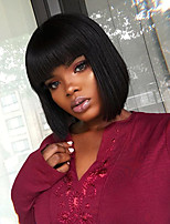 cheap -SHort BOB with Bangs Lace Front Human Virgin Hair Natural Color Lace Wig with Baby Hair