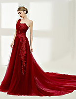 A-Line One Shoulder Court Train Tulle Night out&Special occasion Formal Evening Dress with Laces by SG