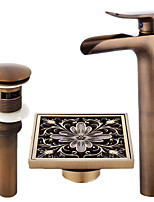 Centerset Waterfall Ceramic Valve Single Handle One Hole Antique Copper , Bathroom Sink Faucet