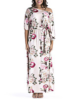 Women's Holiday Plus Size Sheath Swing Dress,Floral One Shoulder Maxi 3/4 Length Sleeves Polyester Spring Fall High Rise Micro-elastic