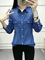 Недорогие -Для женщин На каждый день Зима Осень Рубашка Рубашечный воротник,Активный Однотонный Длинный рукав,Хлопок