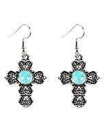 cheap -Women's Drop Earrings Turquoise Vintage Basic Turquoise Alloy Cross Jewelry For Daily Going out