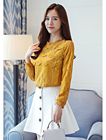 cheap -Women's Daily Street chic Blouse,Solid Round Neck Long Sleeves Polyester