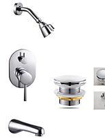 Comtemporary Tub And Shower Rain Shower with  Ceramic Valve Three Holes for  Chrome , Shower Faucet