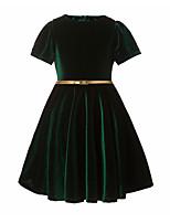 Menina de Vestido Casual Sólido Outono Algodão Manga Curta Simples Azul Verde Preto Vinho