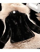 Недорогие -Для женщин На выход На каждый день Зима Осень Пальто с мехом V-образный вырез,Простой Однотонный Короткая Длинный рукав,Искусственный мех,