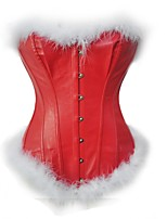cheap -Women's Overbust Corset Solid-Medium PU Red