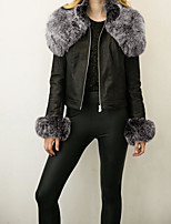 cheap -Women's Daily Going out Street chic Winter Fall Leather Jacket,Solid Round Neck Long Sleeves Regular PU Fur Trim