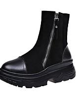 preiswerte -Damen Schuhe PU Winter Modische Stiefel Stiefel Creepers Runde Zehe Mittelhohe Stiefel Für Normal Schwarz